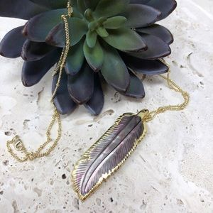 Handmade Boho feather necklace long chain gold